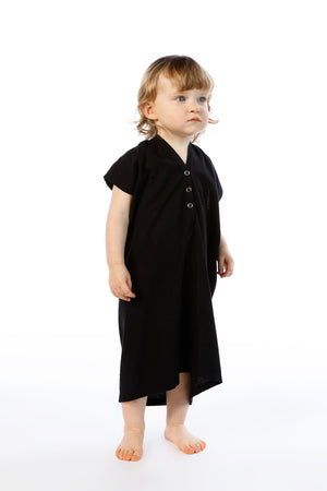 Kid's Everyday Dress, Silk Noil in Black