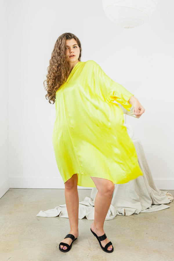Muse Dress Silk Charmeuse in Citron