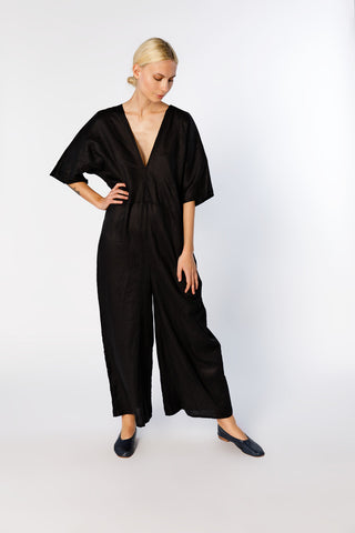 Muse Jumpsuit, Linen in Black