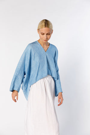Muse Top, Linen in Light Indigo