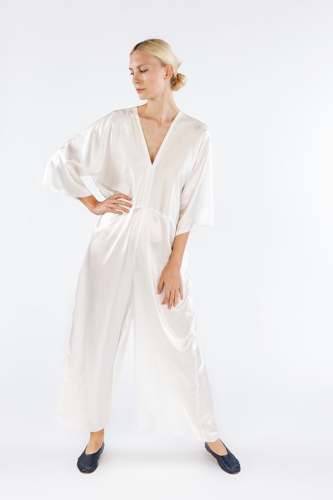Muse Jumpsuit, Silk Charmeuse in White