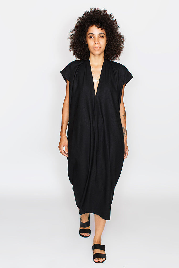 Everyday Dress, Oversized, Silk Noil in Black