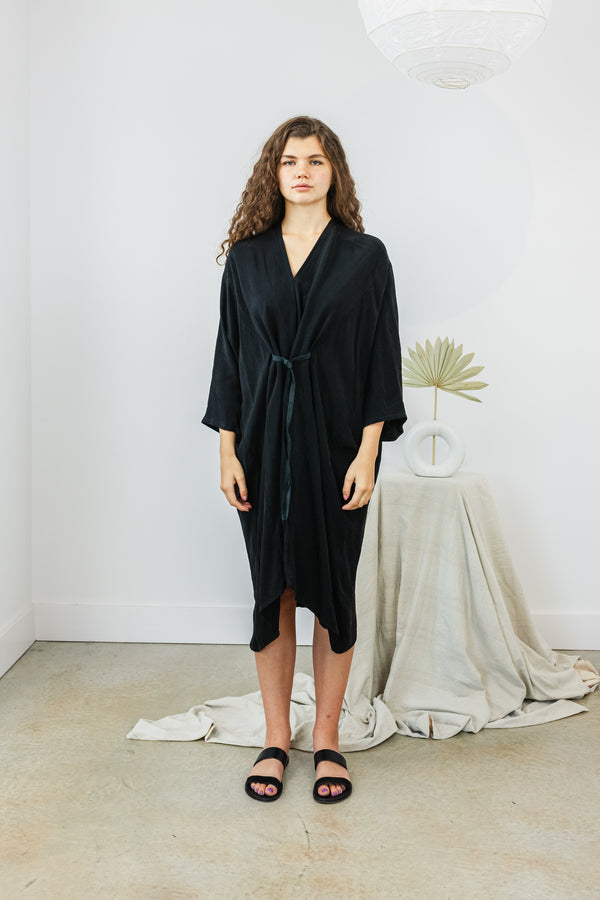 O'Keeffe Dress, Cupro in Black