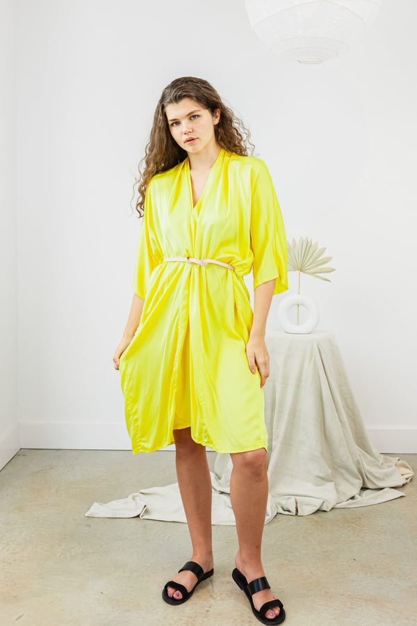 O'Keeffe Dress, Silk Charmeuse in Citron  FINAL SALE