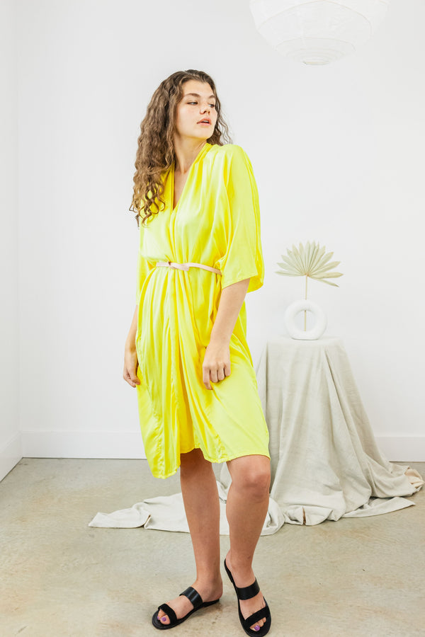 O'Keeffe Dress, Silk Charmeuse in Citron