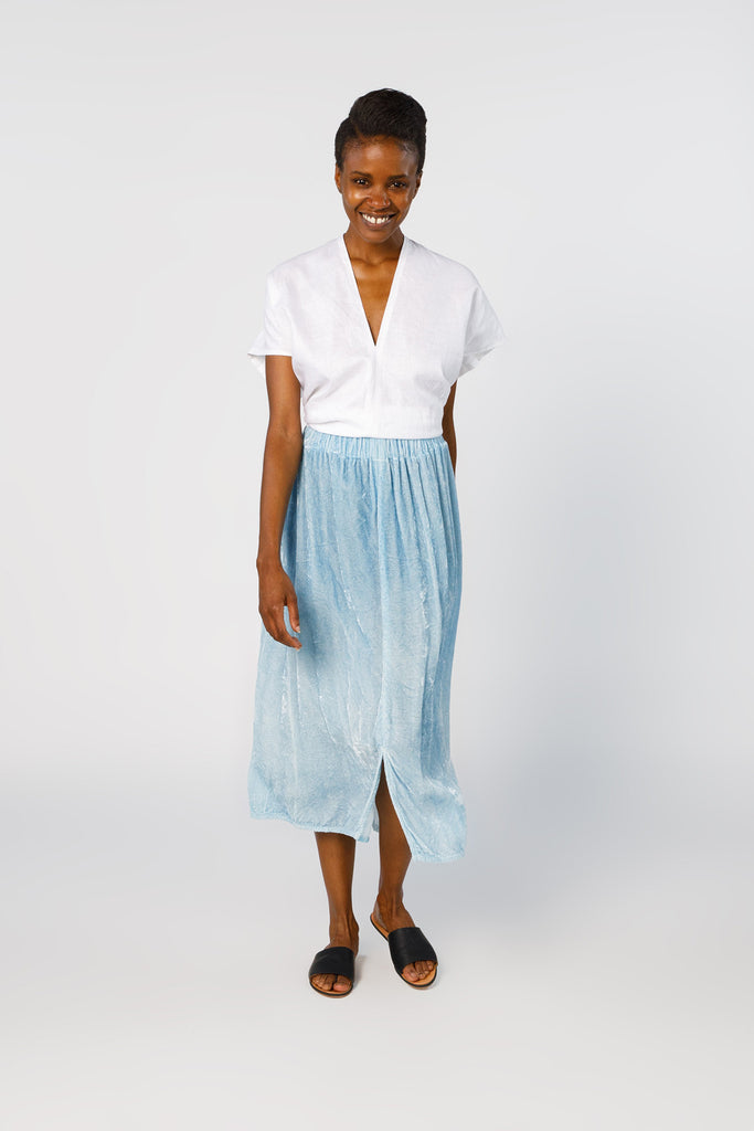Paper Bag Skirt, Velvet in Light Indigo