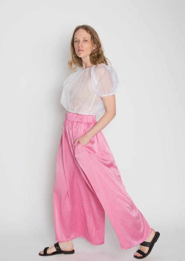 Palazzo Pant, Silk Charmeuse in Cochineal