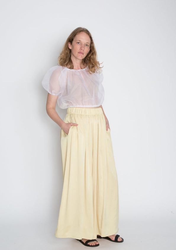 Palazzo Pant, Silk Charmeuse in Light Mexican Mint Marigold
