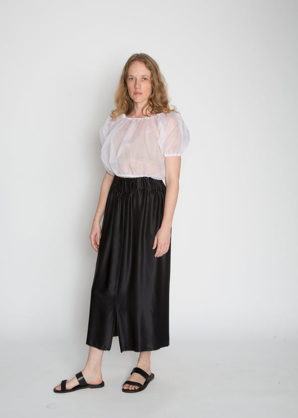Paper Bag Skirt, Silk Charmeuse in Black