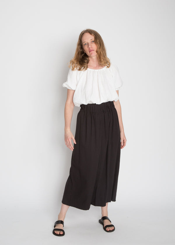 Paper Bag Skirt, Cotton Lyocell in Black