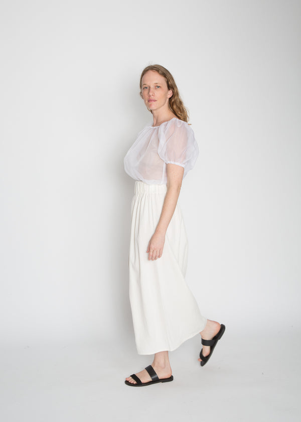 Paper Bag Skirt, Cotton Lyocell in Natural