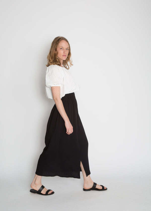 Paper Bag Skirt, Organic Cotton Bubble Gauze in Black
