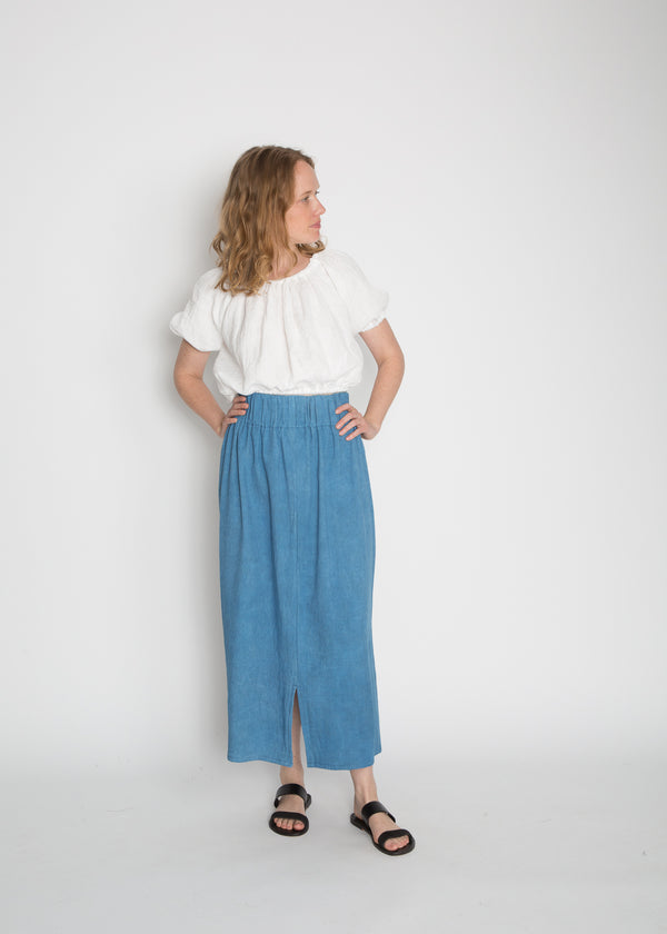 Paper Bag Skirt, Cotton Lyocell in Indigo