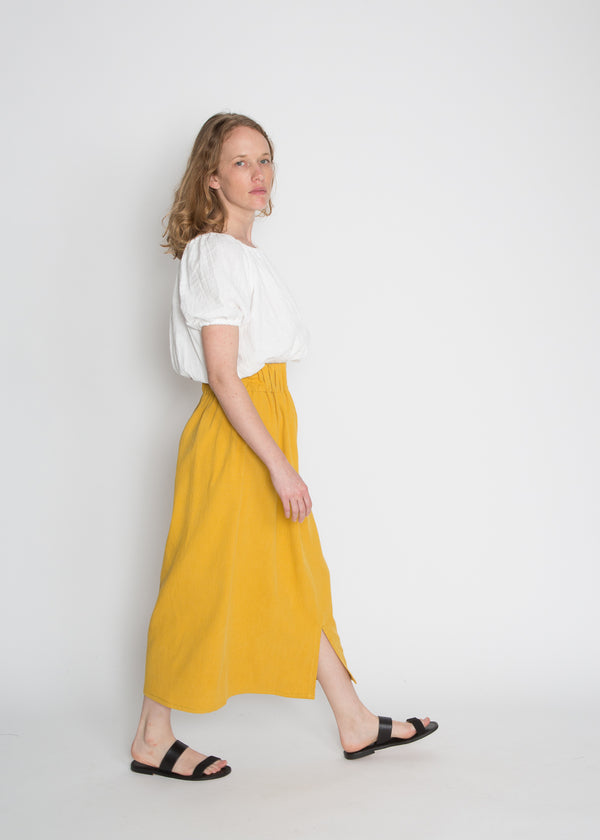 Paper Bag Skirt, Cotton Lyocell in Mexican Mint Marigold