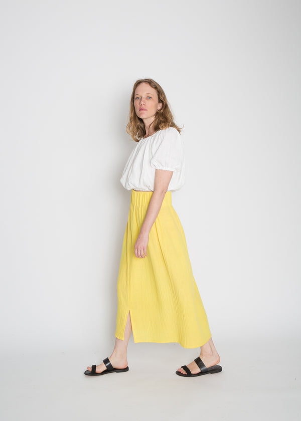 Paper Bag Skirt, Organic Cotton Bubble Gauze in Citron