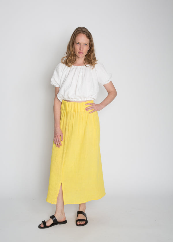 Paper Bag Skirt, Bubble Gauze in Citron