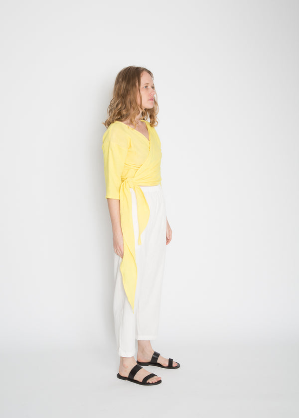 Petite Wrap Top, Organic Cotton Bubble Gauze in Citron