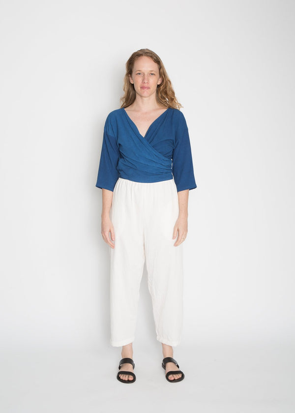 Wrap Top, Rayon Crepe in Indigo