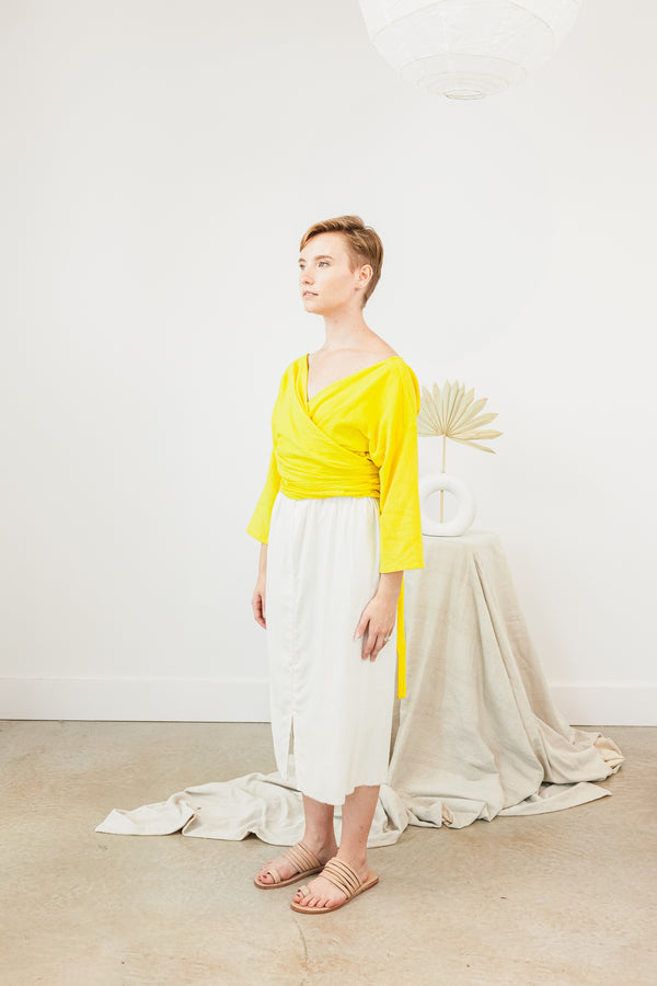 Wrap Top, Textured Cotton in Citron