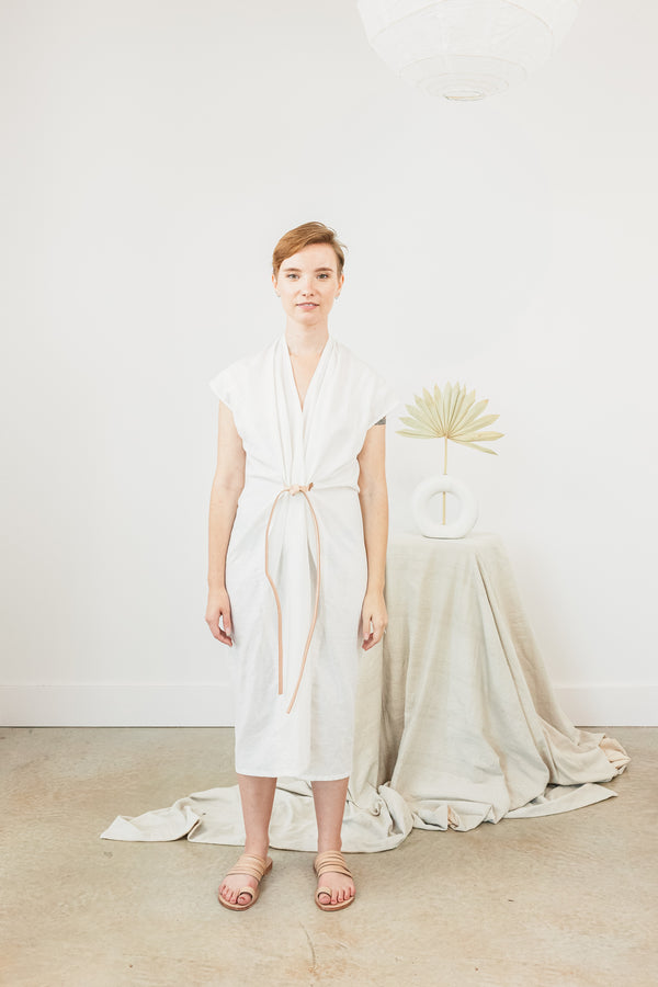 Petite Knot Dress, Linen in White