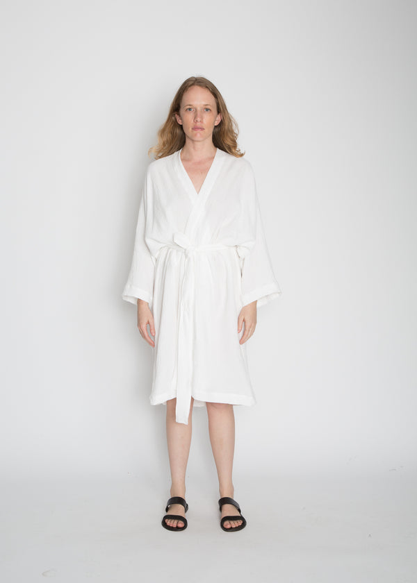 Robe, Organic Cotton Bubble Gauze in White