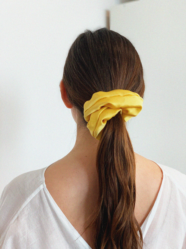 Scrunchie, Silk Charmeuse in Mexican Mint Marigold