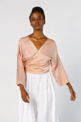 Wrap Top, Silk Charmeuse in Bardot