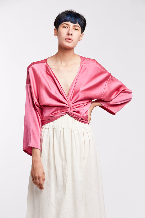 PRE-ORDER: Wrap Top, Silk Charmeuse in Cochineal