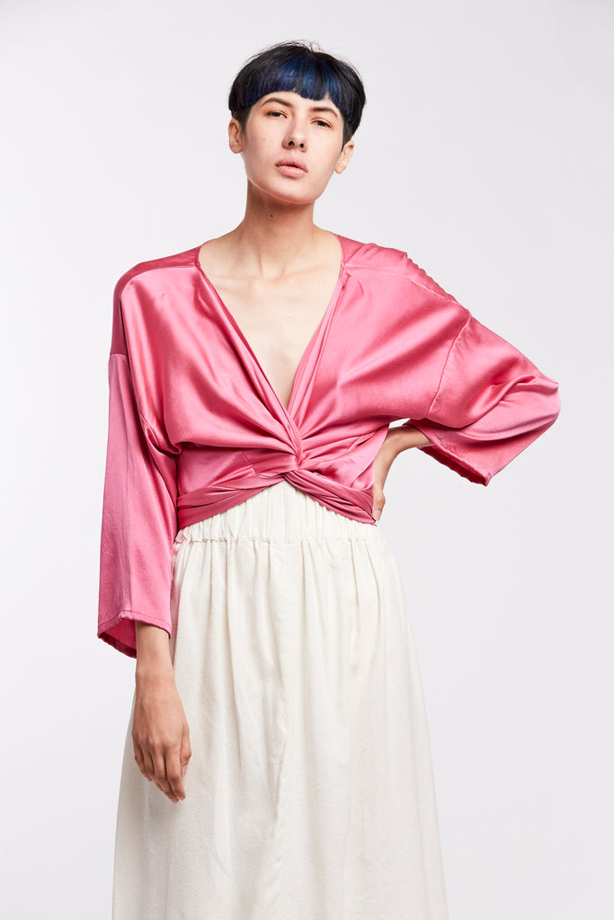 Wrap Top, Silk Charmeuse in Cochineal