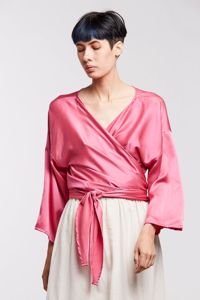 Wrap Top, Silk Charmeuse in Madrid