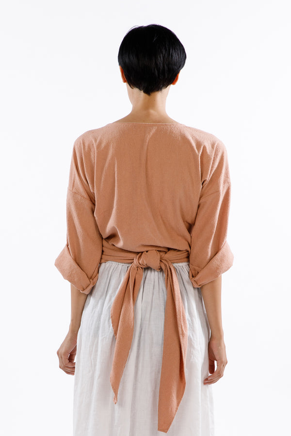 Wrap Top, Silk Noil in Nico