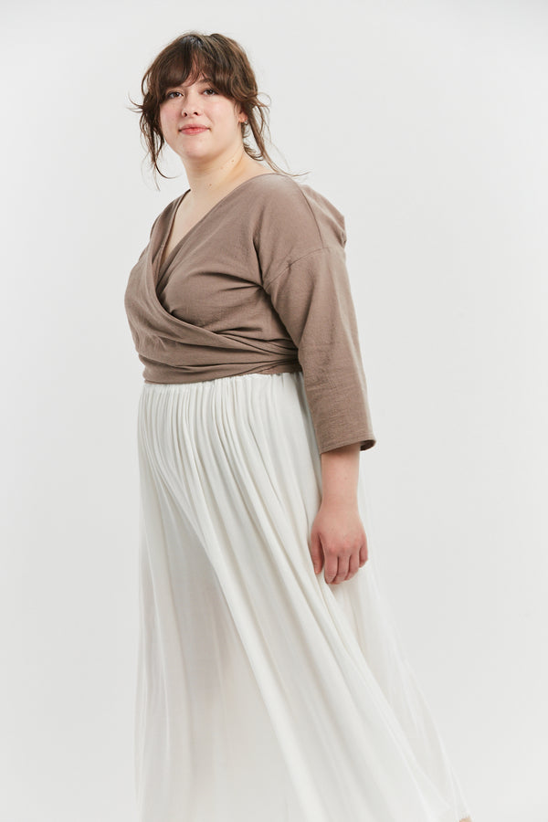Petite Wrap Top, Textured Cotton in Faroe