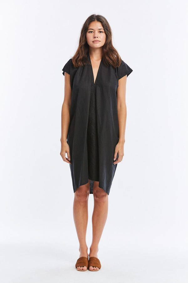 Everyday Dress, Cotton Linen in Black FINAL SALE
