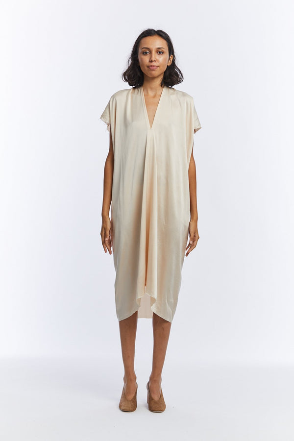 LIMITED EDITION: Petite Everyday Dress, Silk Charmeuse in Bardot Overdye V.2