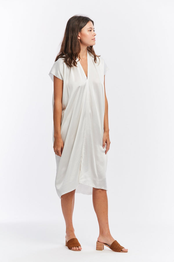 Everyday Dress, Silk Charmeuse in White FINAL SALE