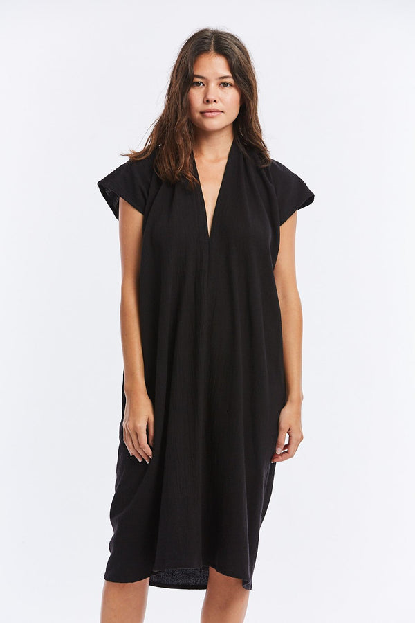 Everyday Dress, Textured Cotton in Black