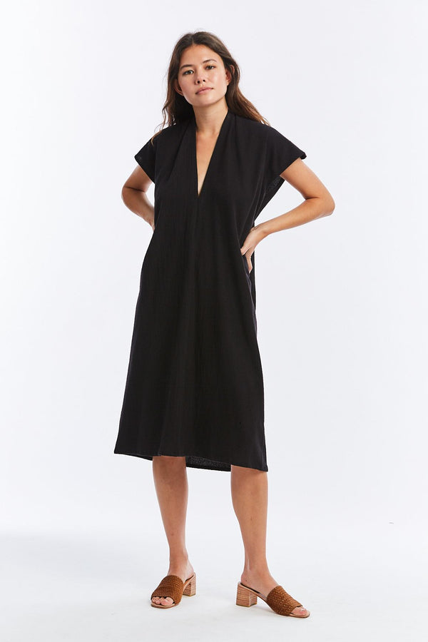 Everyday Dress, Textured Cotton in Black FINAL SALE