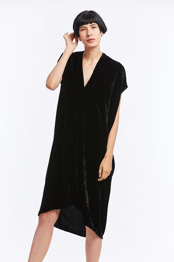 Petite Everyday Dress, Velvet in Black