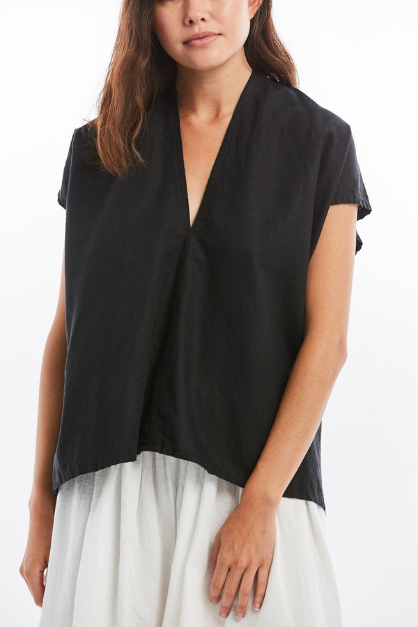 Petite Everyday Top, Cotton Linen in Black