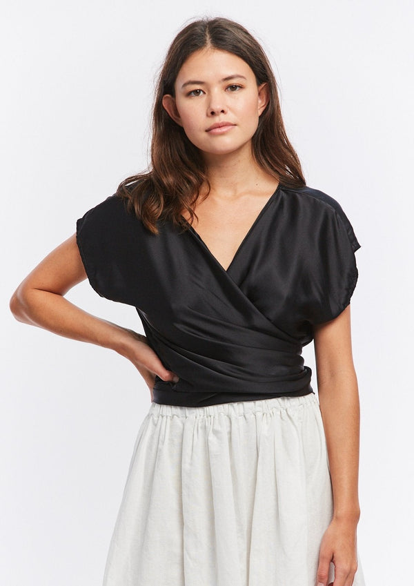 Hassinger Top, Silk Charmeuse in Black