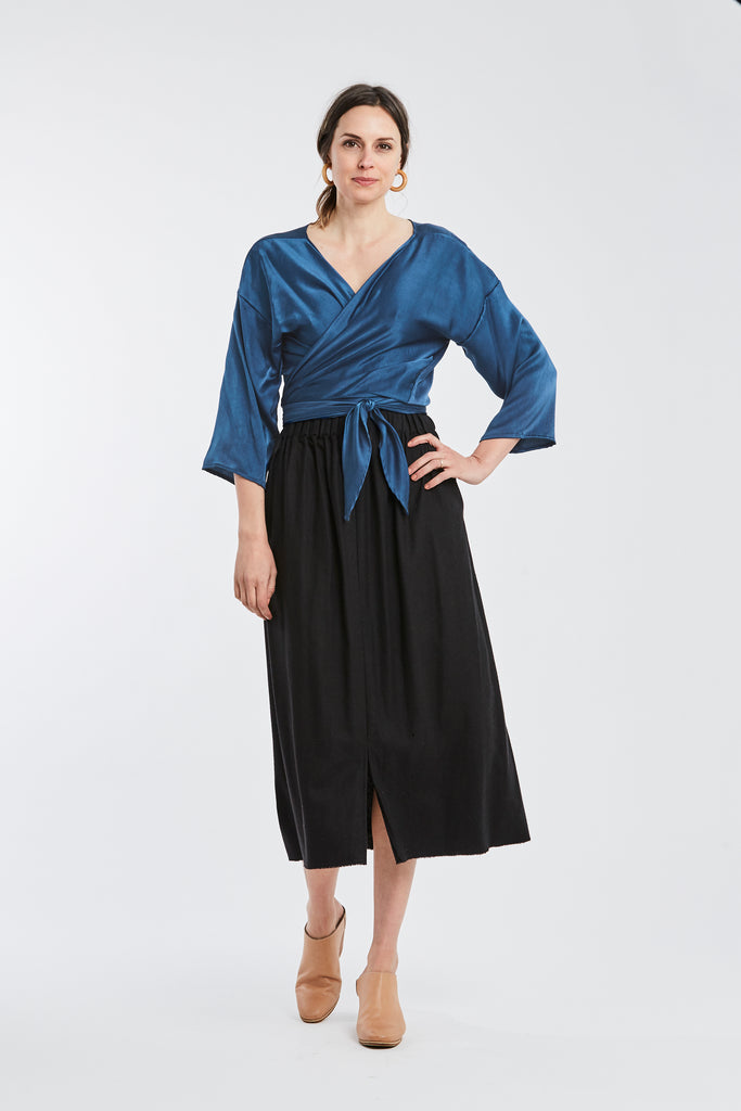 Wrap Top, Silk Charmeuse in Indigo