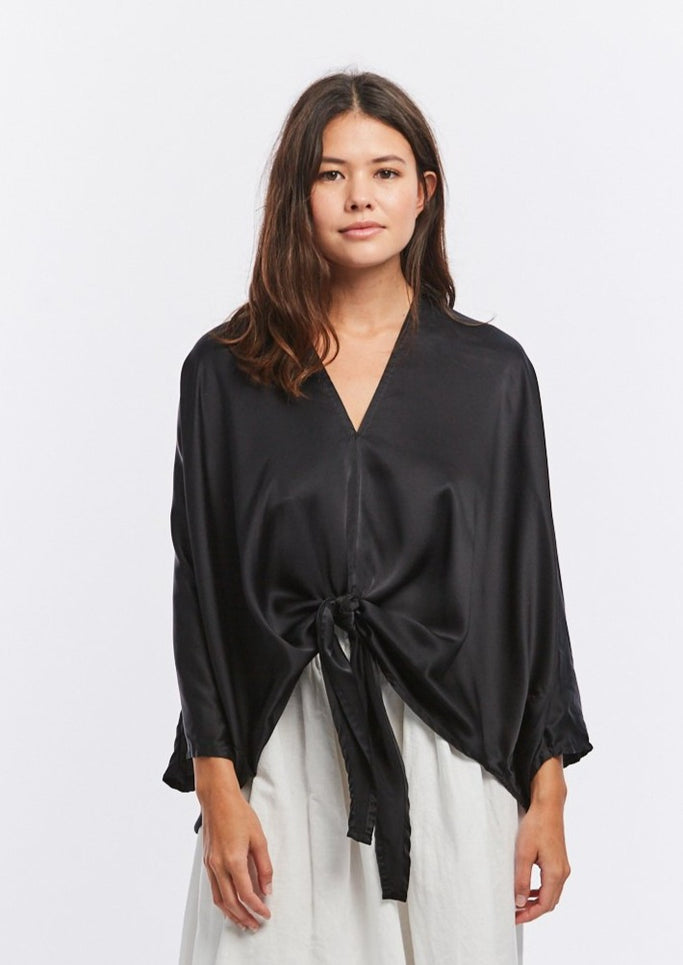 Kahlo Top, Silk Charmeuse in Black