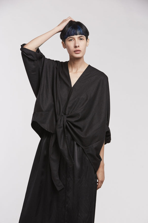Kahlo Top, Silk Noil in Black