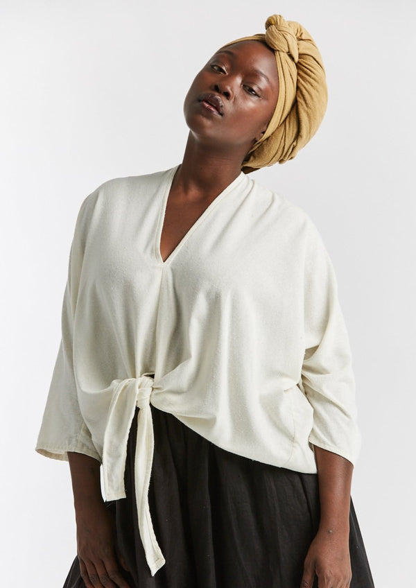 Kahlo Top, Silk Noil in Natural