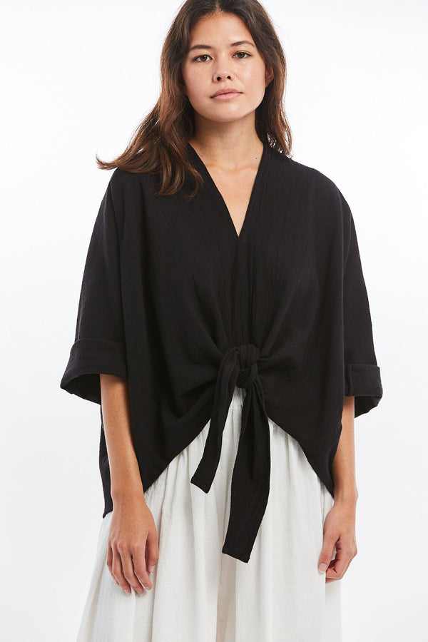 Kahlo Top, Textured Cotton in Black