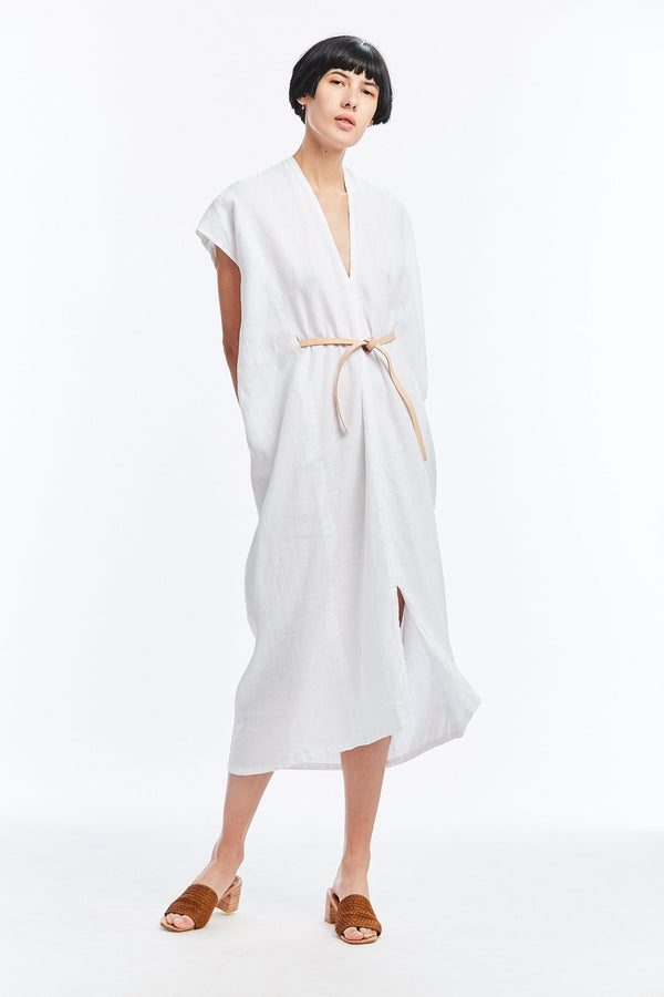 Knot Dress, Cotton Linen in White