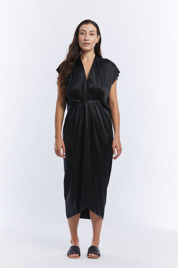 Knot Dress, Silk Charmeuse in Black