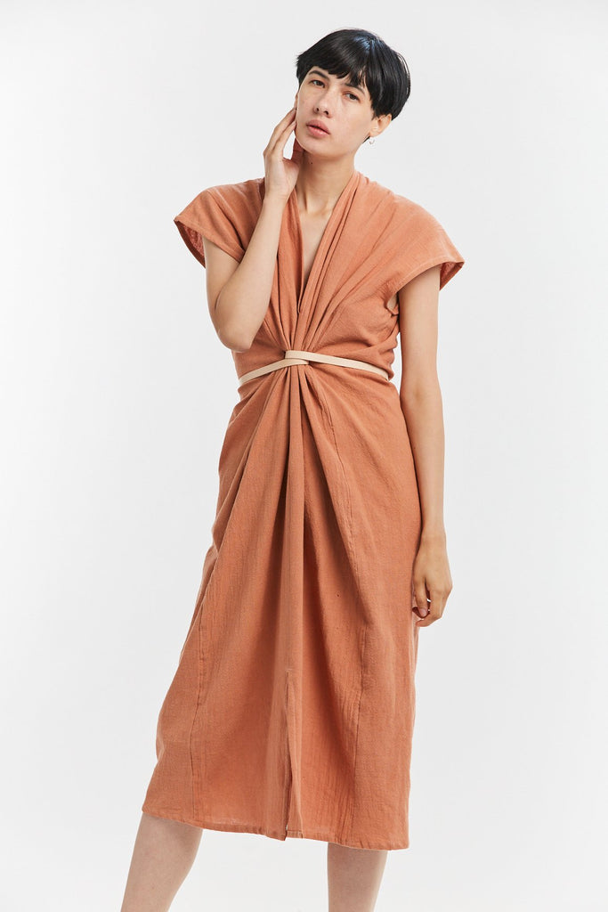 Knot Dress, Textured Cotton in Taos