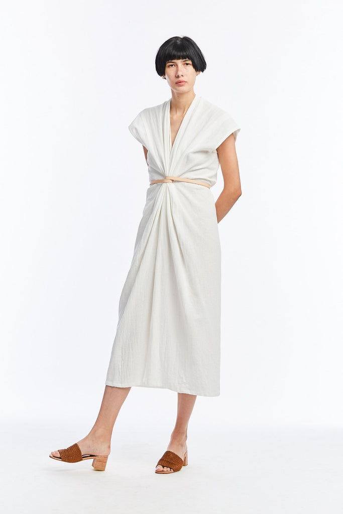 Knot Dress, Textured Cotton in White