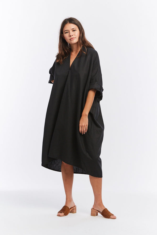 Muse Dress, Cotton Linen in Black